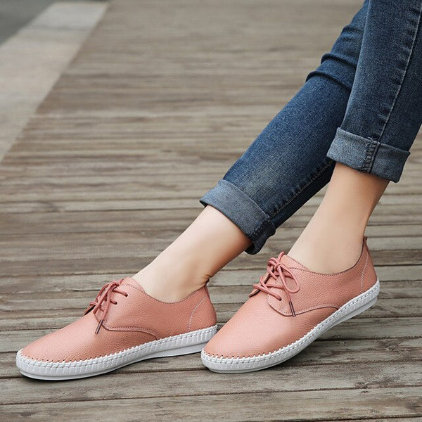 PINSEN Brand High Quality Women Leather Shoes Lace-up Flats Handmade Shoes Loafers mocassin flat Women's Casual Shoes - Slabiti
