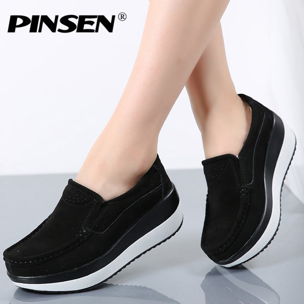 PINSEN Women Flat Platform Loafers Ladies Elegant Suede Leather Moccasins Shoes Woman Slip On Moccasin Women's blue Casual Shoes - Slabiti