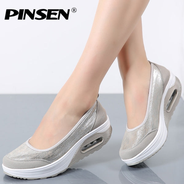 PINSEN Women Flat Platform Shoes Woman Moccasin zapatos mujer platform sandals Slip On For Ladies Shoes Casual Flats Moccasins - Slabiti