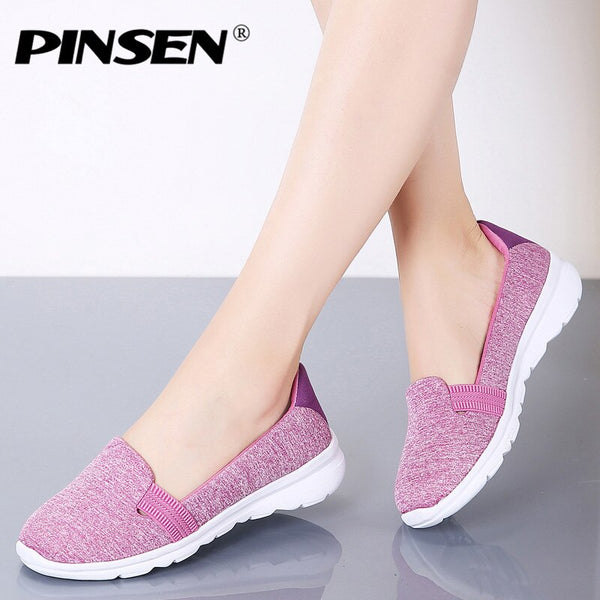 PINSEN Women Sneakers Casual Slip On Ladies Flat Shoes Breathable Mesh Trainers Soft Walking Female Shoes Footwear Zapatos Mujer - Slabiti