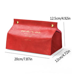 PU Leather Tissue Box Container Napkin Holder Storage Box Papers Bag Cosmetic Box Case Pouch Organizer - Slabiti
