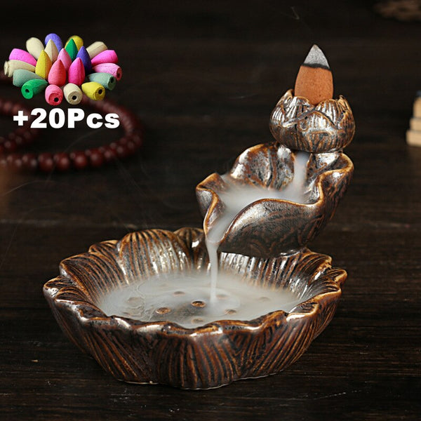 Personality Home Decorations Creative Lotus Stone Mill Landscape Decoration Ceramic Backflow Incense Burner Aromatherapy Scented - Slabiti