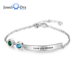 Personalized Bar Bracelets & Bangles with 2 Birthstones Custom Engraved NamePlate Bracelets for Women (JewelOra BA102617) - Slabiti