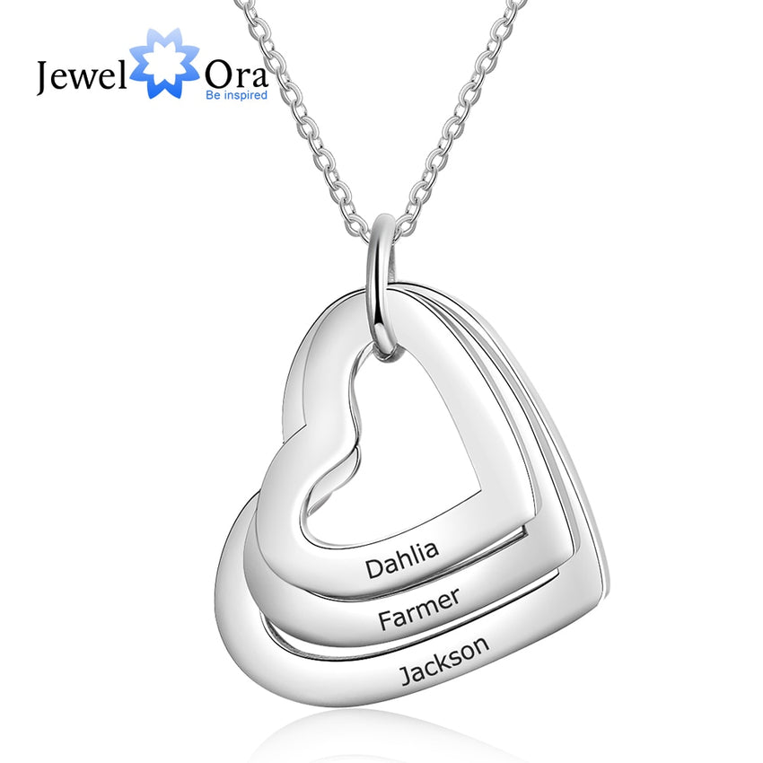 Personalized Family Necklace with 3 Names Stainless Steel Triple Heart Engraved Necklace for Mother (JewelOra NE103289) - Slabiti