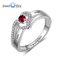 Personalized Gift Birthstone Engraved Names Adjustable Rings For Women Promise Love Anniversary Jewelry (JewelOra RI103799) - Slabiti