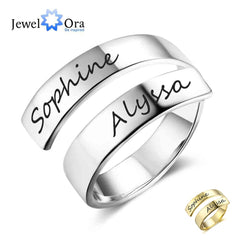 Personalized Gift Customized Engraved Name Stainless Steel Adjustable Rings for Women Anniversary Jewelry (JewelOra RI102973) - Slabiti