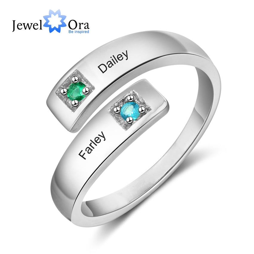Personalized Women Rings with Birthstone Custom 2 Names Adjustable Engraved Promise Rings for Couples Jewelry(JewelOra RI103934) - Slabiti