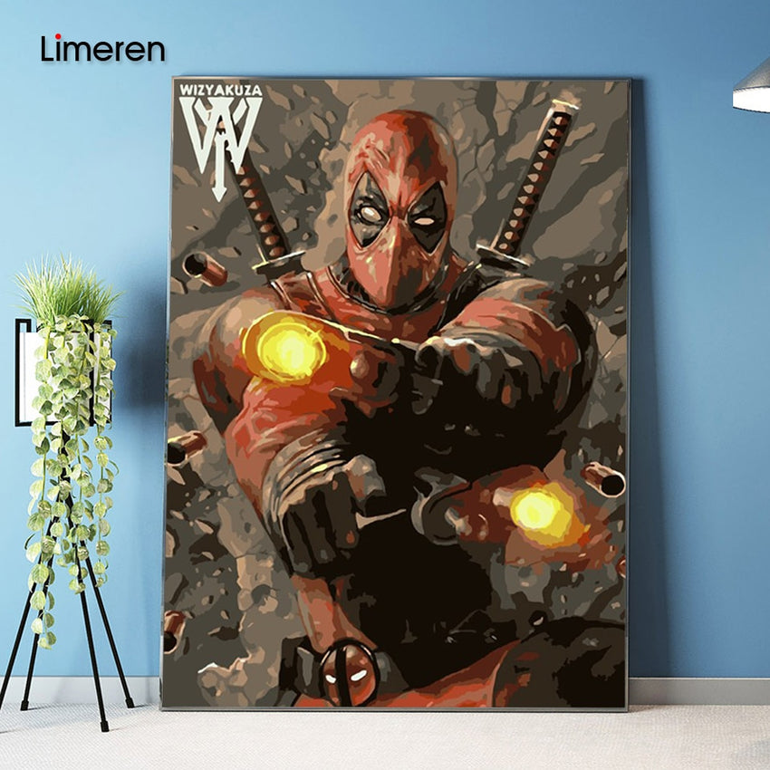 Picture On Wall Acrylic Deadpool Avenger oil Painting Drawing By Numbers Abstract Gift DIY Amazing Coloring By Numbers Canvas - Slabiti