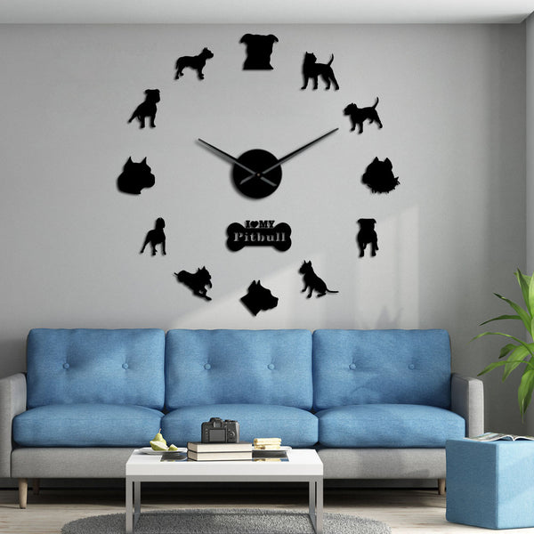 Pit Bull Large Wall Clock Dog Breed Pitties Home Deocr Self Adhesive DIY 3D Wall Clock Mirror Surface Pit Bull Dog Lover Gifts - Slabiti
