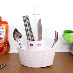 Plastic Tableware Storage Box For Spoon Kitchen Chopsticks Organizer Basket Boat-shaped Desktop Container Stationery Holder Rack - Slabiti