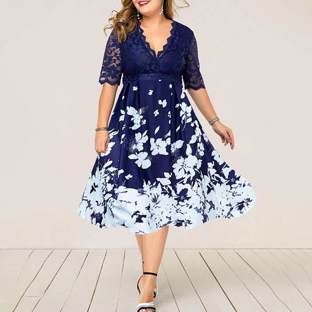 Plus Size Women Summer Dress Patchwork Flower Large Size Evening Party Lady Midi Dress Sexy Lace Calf Elegant Female Dress D25 - Slabiti