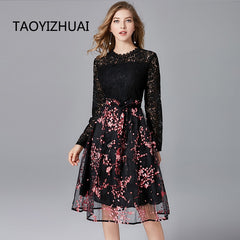 Plus size lace dress New Arrival 2020  Flower Patchwork  Ruffles high quality Slim Women Dresses Long Party  office vestidos - Slabiti