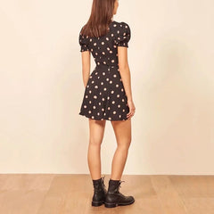 Polka Dot Sexy Spring Autumn Party Dresses Women Mini Dress Ladies Vintage Clothes Cotton Linen Sundress - Slabiti