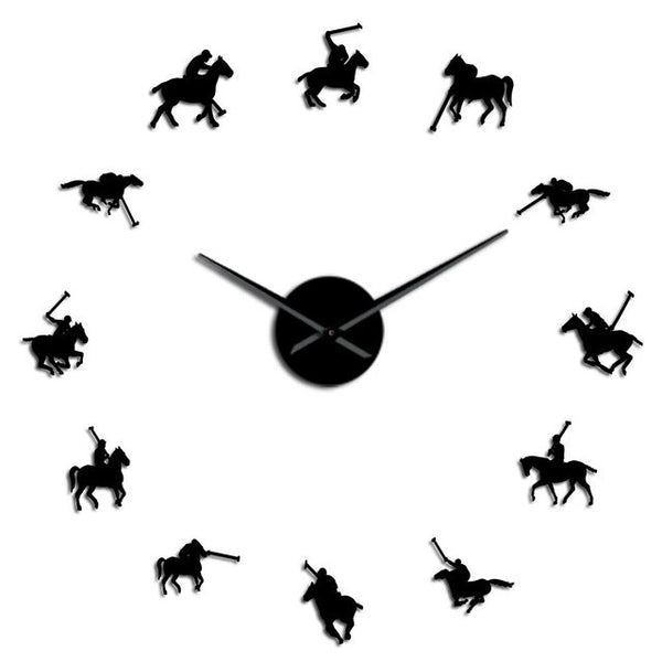 Polo Games Polo Sport Pony Match Wall Art DIY Giant Wall Clock Poloist Horse Riders Frameless Large Wall Watch Polo Player Gift - Slabiti