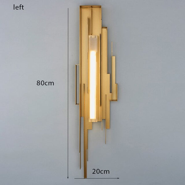 Post-modern living room wall lamp nordic wrought iron acrylic bedroom bedside led indoor wall light stair aisle loft sconce lamp