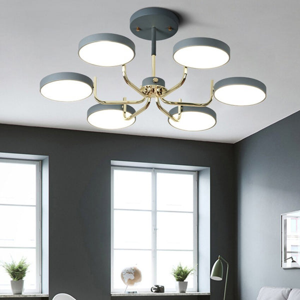 Postmodern American LED chandelier macaron Living Room Dining  Bedroom iron Lighting Fixture balcony suspension luminaires