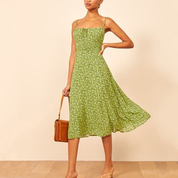 Print Casual Beach Summer Dress 2020 Sexy Spaghetti Strap V-neck Off Shoulder Women Midi Dress Elegant Vintage Vestidos - Slabiti