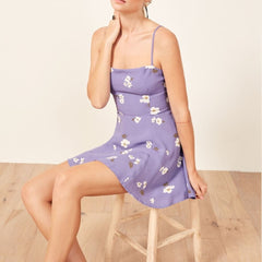 Purple Floral Dress Spaghetti Strap Mini Dress Summer Sexy Lady Sundress Open Shoulder Mini Dress  LF19DR4366 - Slabiti