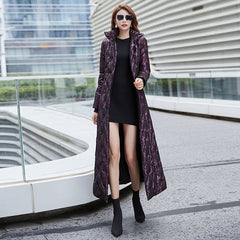 Purple long down women's 2019 winter new slim white duck down thickened warm fashion coat 6014 - Slabiti