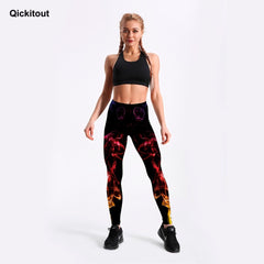 Qickitout 3D Digital Neon Printed For Women's Leggings Black Slim Fitness Leggings Mid Waist Ankle Length Pants Casual Workout - Slabiti