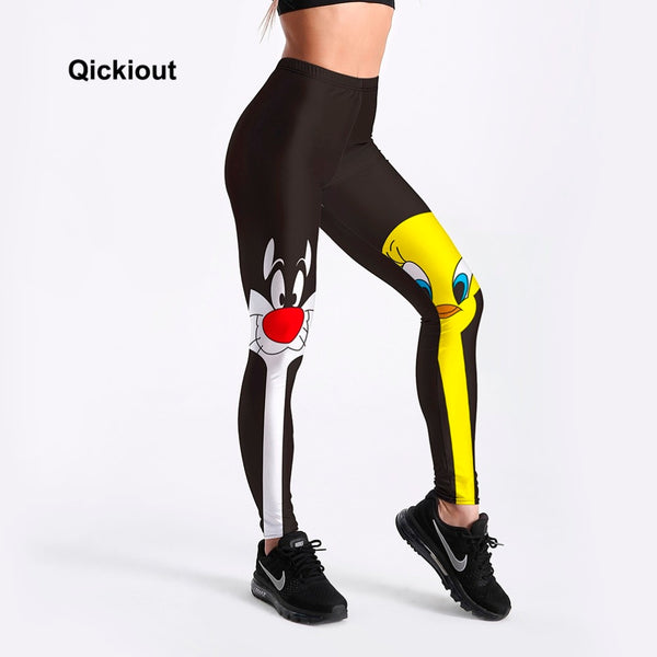 Qickitout Leggings 2018 Drop Shipping Fitness Pants Women Lovely Cartoon Cat and Duck Printed Women Cute Casual Leggings - Slabiti