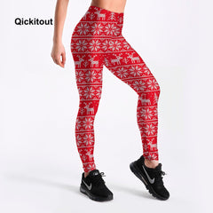 Qickitout Leggings Happy Festival Women's Red Cute Animal Elk With White Dot  Leggings Digital Print Pants Trousers wholesales - Slabiti
