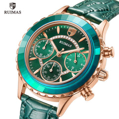 RUIMAS Ladies Casual Watches Luxury Green Leather Quartz Watch Women Chronograph Watch Top Brand Relogio Feminino Clock Girl 592 - Slabiti