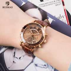 RUIMAS Women Rose Gold Quartz Watches Luxury Leather Strap Chronograph Watch Lady Casual Wristwatch Female Relogios Feminino 592 - Slabiti