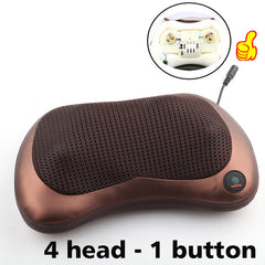 Relaxation Massage Pillow Vibrator Electric Shoulder Back Heating Kneading Infrared therapy for shiatsu Neck Massage - Slabiti