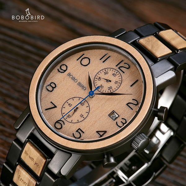 Relogio Masculino BOBO BIRD Watch Men Top Luxury Stainless Steel Wooden Watches reloj hombre Great Gifts for Man Free Engraving - Slabiti