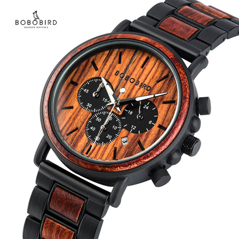 Relogio Masculino BOBO BIRD Wood Personalized Watch Men Luxury Chronograph Military Watches Custom Gift for Him Dropshipping - Slabiti