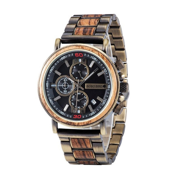 Relogio Masculino BOBO BIRD Wood Watch Top Brand Luxury Chronograph Military Men Watches in Wooden Box reloj hombre Dropshipping - Slabiti