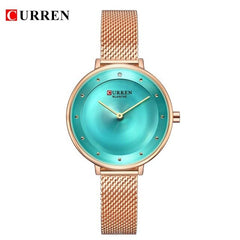 Reloj Mujer Elegante Blue and Silver Steel Bracelet Watches CURREN New Fashion Women's Dress Quartz Wristwatch Relogio Femenino - Slabiti