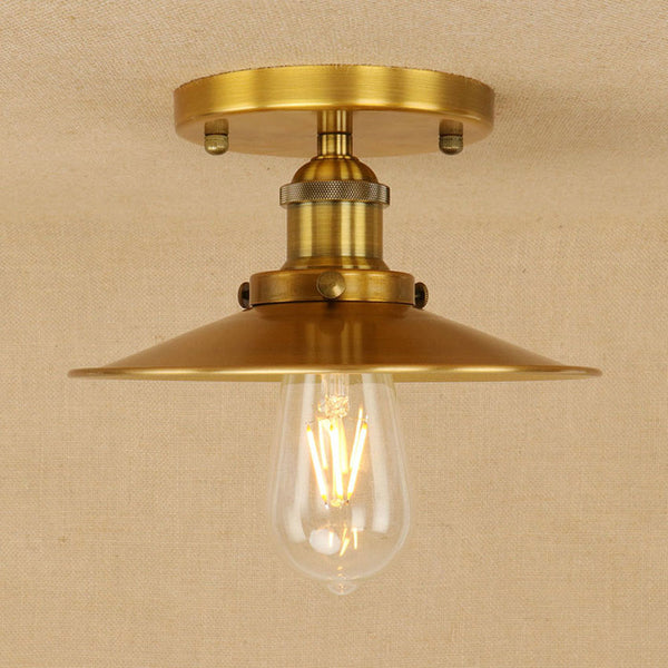 Retro Creative Industrial style ceiling lamp,gold/rusty metal lampshade vintage ceiling light for loft bedroom light fixture