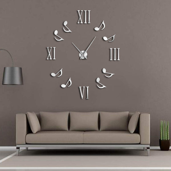 Roman Numerals With Musical Notes Giant Luxury Wall Clock Large Wall Clock Modern Big Needle Clock Watch DIY Enthusiasts Gift - Slabiti