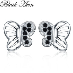 Romantic 1g 925 Sterling Silver Jewelry Natural Butterfly Black Spinel Party Stud Earrings for Women Bijoux T210 - Slabiti