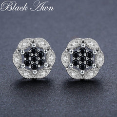Romantic 2.3g 925 Sterling Silver Earring Flower Black Spinel Stud Earrings for Women Fine Jewelry Bijoux Femme T188 - Slabiti