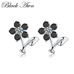 Romantic Flower 1.7g 925 Sterling Silver Jewelry Engagement Stud Earrings for Women Star Black&White Earring T033 - Slabiti