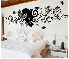 Romantic Heart Butterfly Decoration Wall Sticker Adesivo De Parede Deco Maison Love Wallpaper Home Decoration Accessories Modern - Slabiti