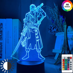 Roronoa Zoro Figure Led Night Light for Kids Bedroom Decoration Japanese Anime One Piece Nightlight Gift Cool Bedside Table Lamp - Slabiti