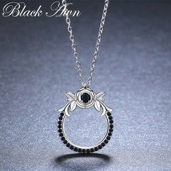 Round Classic Arrive 925 Sterling Silver Fine Jewelry Trendy Flower Engagement necklaces & pendants for Women K026 - Slabiti