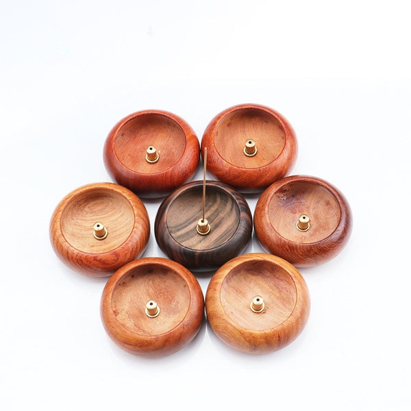 Round Mini Wood Incense Stick Holder Rosewood Style Incense Crafts Home Office Decoration - Slabiti