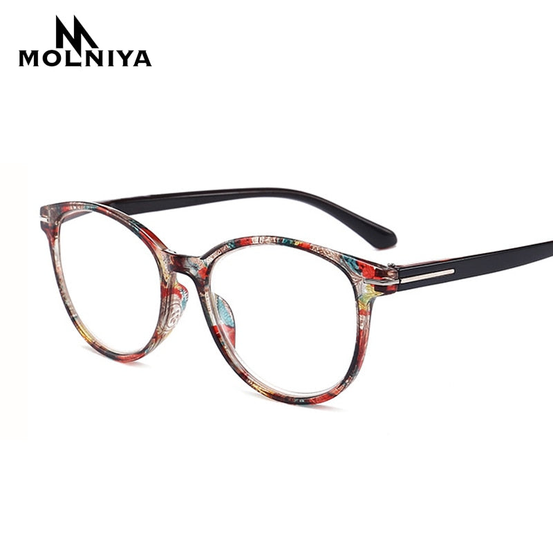 Round Reading Glasses Women Men Lightweight Presbyopic Printing Reading Glasses +0.5 0.75 1.0 1.25 1.5 1.75 2.0 2.5 3.0 3.5 4 - Slabiti