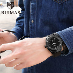 Ruimas Men'S Fashion Sport Stainless Steel Case Leather Band Quartz Analog Wrist Watch Top Brand Luxury Wristwatches - Slabiti