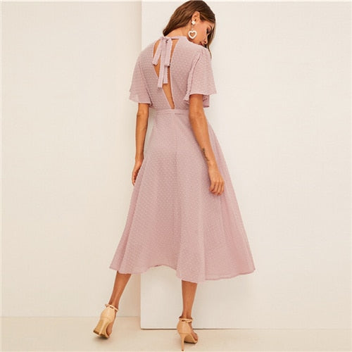 SHEIN Flutter Sleeve Swiss Dot Belted Dress Elegant Pink Pastel Solid Women Dresses Stand Collar A Line Half Sleeve Dresses - Slabiti