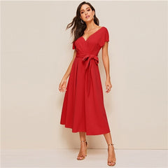 SHEIN Zipper Back Surplice Neck Belted Flare Dress Elegant Women Summer Dress Solid Deep V Neck High Waist Dress - Slabiti