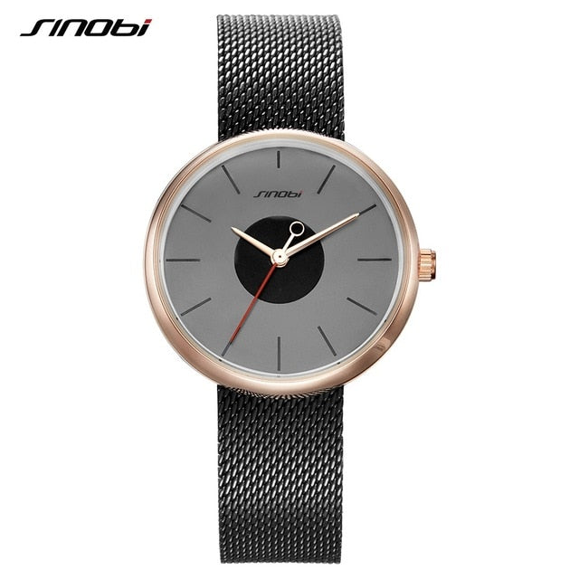 SINOBI Brand Top Luxury Ultrathin Women Watches Casual Sliver Quartz Wristwatches Creative Mesh Strap Watch Montre Femme Relojes - Slabiti