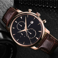 SINOBI Chronograph Sports Mens Wrist Watches Leather Watchband Top Luxury Brand stopwatch date Male Business Dress Clock Saatler - Slabiti