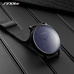 SINOBI Dress Men Watch Steel Mesh Band Quartz Analog Wristwatch 3ATM Waterproof Curved Glass Blue Male Clock+Leather Strap Set - Slabiti