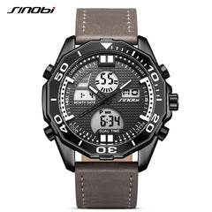 SINOBI Dual Display Men Watches Back Light LED Digital Date Analog Man Alarm Military Sport Casual Wrist Watch Relogio Masculino - Slabiti